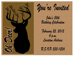 50th Birthday Invitation Oh Deer Milestone Hunting Download Free Printable