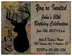 Tara darcy designs printable birthday invitations milestone 50th milestone birthday oh deer hunting filmwisefo